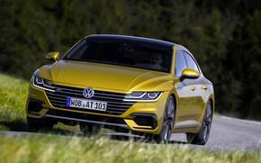 Picture grass, trees, yellow, Volkswagen, 2018, R-Line, liftback, 2017, Arteon