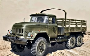 Picture four-wheel drive, ZIL, Truck, The Moscow plant Likhachev, ZIL-131, Soviet and Russian
