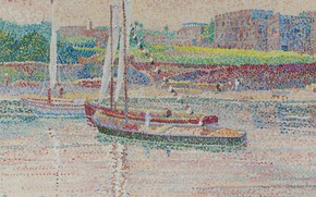 Picture landscape, river, boat, picture, pointillism, Yvonne Canu, Yvonne Kahn, Life on the Nile
