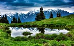 Picture forest, the sky, mountains, clouds, lake, reflection
