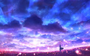 Picture field, the sky, girl, lights, fantasy