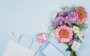 Picture holiday, bouquet, gifts, Mother's Day