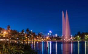 Picture the sky, night, lights, pond, Park, palm trees, CA, USA, Los Angeles, fountains, Echo Park …