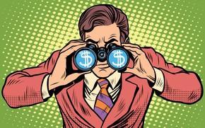 Picture money, suit, business, binoculars