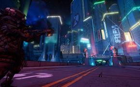 Picture The city, Neon, Guns, Cyberpunk, Borderlands 3, Mayhem is Coming, BL3, Prometheus