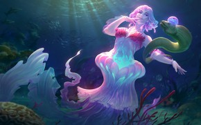 Picture sea, the ocean, Medusa, fantasy, art, Jon Neimeister, Lady of the Sea Discordia
