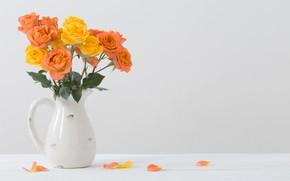Picture table, roses, bouquet, pitcher, Maya Kruchenkova