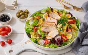 Picture egg, meat, tomatoes, olives, salad, olives, radishes