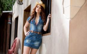 Picture girl, model, hat, Molly Stewart, denim dress