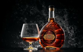Picture style, background, glass, bottle, brandy