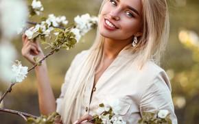 Picture trees, pose, smile, Girl, flowers, Sergey Sorokin, Luba Ivanova