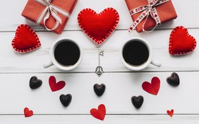 Picture love, gift, heart, hearts, red, love, heart, wood, cup, romantic, valentine's day, coffee, a Cup ...
