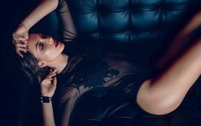 Picture girl, pose, sofa, makeup, brunette, underwear, body, manicure, Paul Puopolo