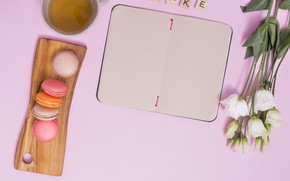 Picture tea, bouquet, Breakfast, Notepad, eustoma, macaron