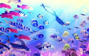 Picture The ocean, Fish, Sea, Depth, Fish, Style, Fish, Diving, Art, Art, Style, Digital, Ocean, Illustration, …