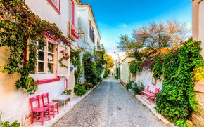 Picture greens, street, home, pavers, benches, Aegean Sea, Bozcaada