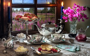 Picture flowers, style, berries, candles, kettle, window, strawberry, Cup, vase, mugs, jam, buns