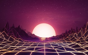 Picture Sunset, The sun, Music, Space, Star, Background, Neon, 80's, Synth, Retrowave, Synthwave, New Retro Wave, …