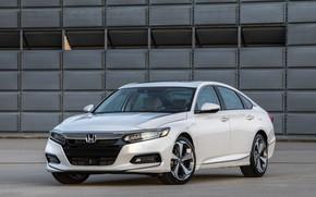 Picture white, Parking, Honda, Accord, sedan, 2018, Touring, 2.0T, four-door