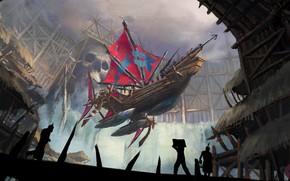 Picture Figure, Ship, Art, Art, Fiction, Illustration, Concept Art, Jinheng LI, by Jinheng LI, Flying Ship