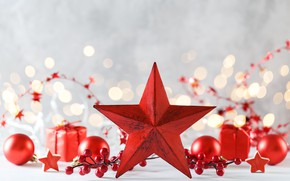 Picture background, holiday, toys, star, new year, Christmas, composition