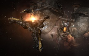 Picture nebula, planet, station, asteroids, Space, space, spaceship, eve online, space ship, coooper