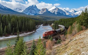 Picture forest, mountains, river, view, train, ate, railroad