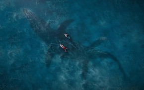 Picture sea, surface, blue, fiction, the view from the top, surfers, Jurassic World: Fallen Kingdom, Renteria, …