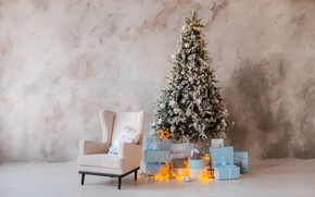 Picture tree, new year, gifts, decoration