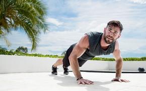 Picture look, actor, model, pose, athlete, pushups, Chris Hemsworth, Chris Hemsworth, workout, fitness
