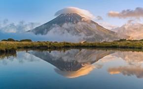 Picture reflection, river, MT Taranaki, New Zealand, North island, National Park Egmont