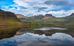 Picture clouds, mountains, reflection, rocks, the slopes, houses, pond