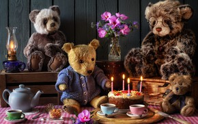 Picture flowers, toys, Board, lamp, candles, kettle, the tea party, Cup, cake, box, bears, feast