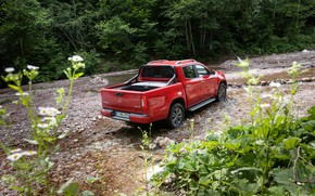 Picture red, Mercedes-Benz, 2018, pickup, X-Class, along the Creek