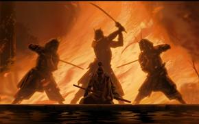 Picture fire, sword, fantasy, weapon, katana, fight, men, digital art, artwork, Samurai, warrior, fantasy art