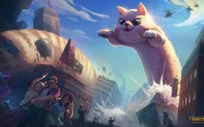 Picture cat, the city, people, giant, selfie, Smite, Jormungandr