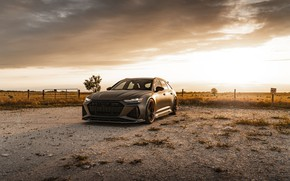 Picture Audi, Sunset, Gray, Before, RS6