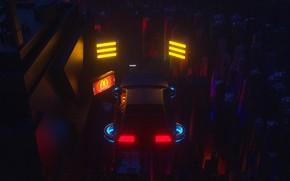 Picture Auto, Night, The city, Future, Machine, Flight, Style, DeLorean DMC-12, Art, Art, 80s, Style, DeLorean, …