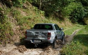 Picture grey, Ford, puddle, back, Raptor, pickup, Ranger, 2019