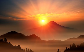 Picture the sun, dawn, mountain, the volcano, Japan, Fuji