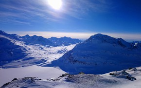Picture winter, the sun, snow, morning, landscape, winter, mountain, snow, morning, sun