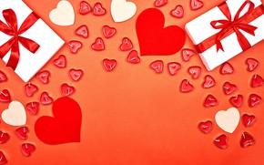 Picture background, gifts, hearts, red, white, bows, Valentine's day, ribbons