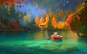 Picture autumn, nature, lake, boat, mouse, Corgi