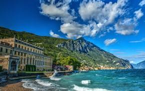 Picture mountains, lake, the building, Alps, Italy, Italy, Alps, Lombardy, Lombardy, Lake Garda, Gargnano, Garda, Gargnano