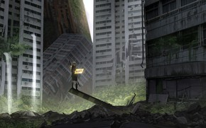 Picture the city, boy, ruins, Nier Automata, YoRHa No 9 Type S