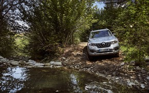 Picture water, stones, Renault, pickup, 4x4, shrub, 2017, Alaskan, gray-silver