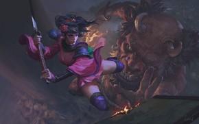 Picture demon, fire, girl, sword, fantasy, horns, weapon, katana, digital art, artwork, Samurai, warrior, fantasy art, …