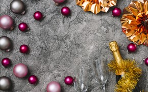 Picture decoration, balls, colorful, New Year, glasses, Christmas, champagne, Christmas, balls, New Year, decoration, xmas, champagne, …