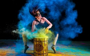 Picture girl, music, paint, color, dust, drum