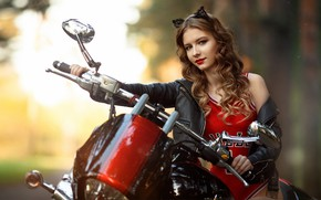 Picture brown hair, motorcycle, girl